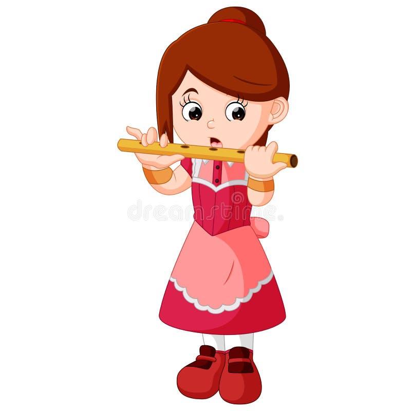Het spelen van het meisje fluit stock illustratie