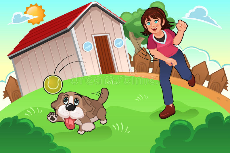 Het spelen van het meisje met haar hond royalty-vrije illustratie