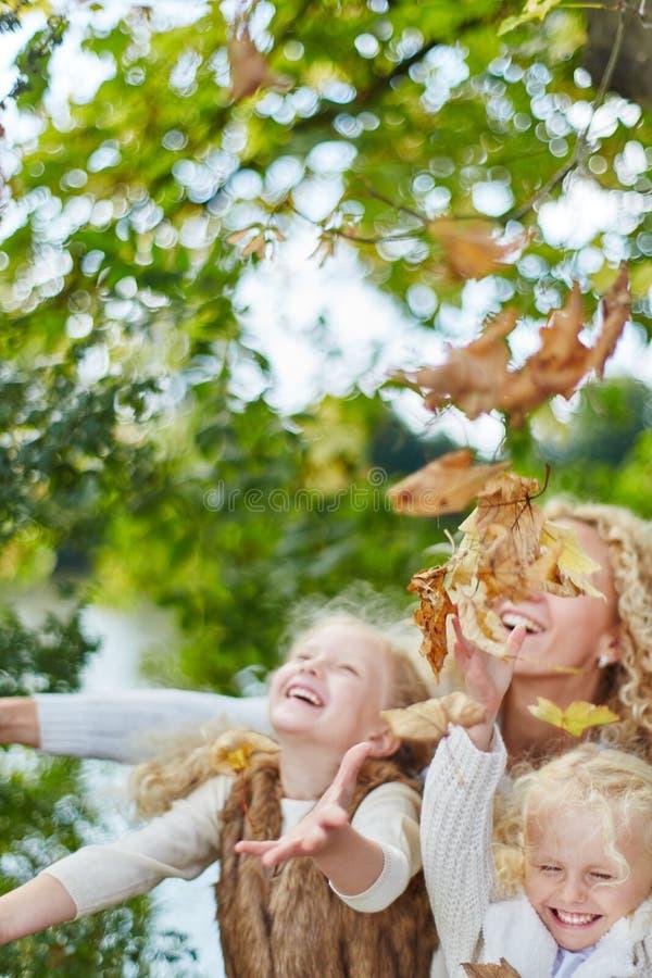 Het spelen van kinderen en van de moeder stock afbeeldingen