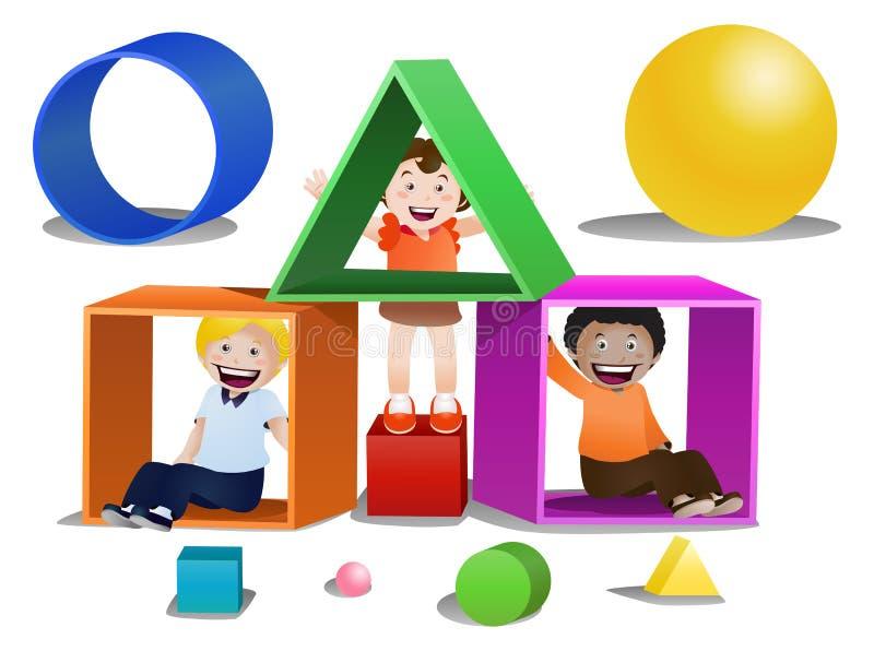 Het spelen van kinderen vormdozen op geïsoleerd vector illustratie