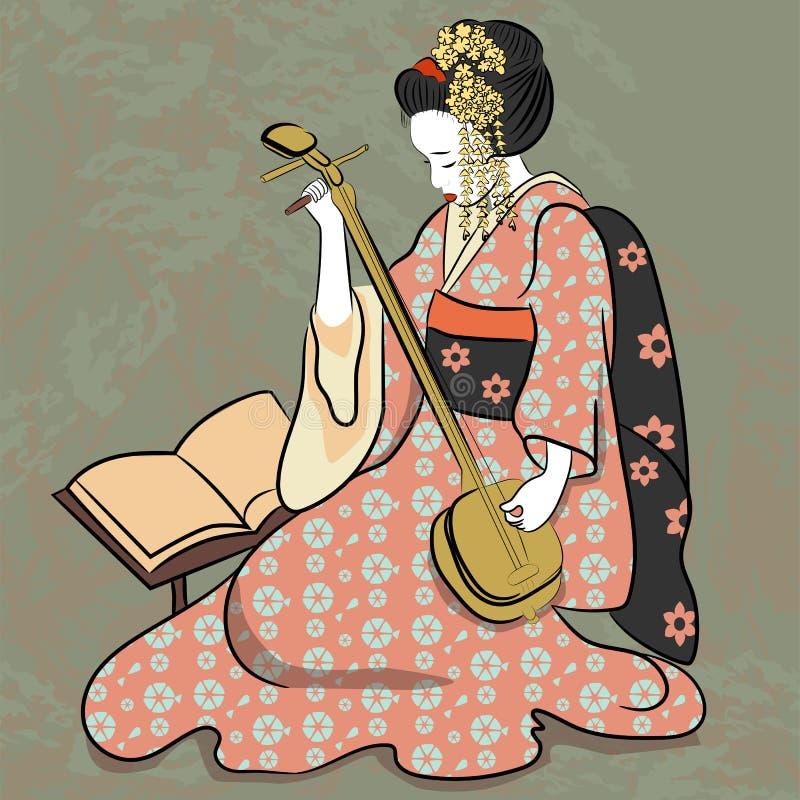 Het spelen van klassieke Japanse de vrouwen oude stijl van Geisha oude Japan van tekening Mooi Japans geishameisje royalty-vrije stock afbeelding