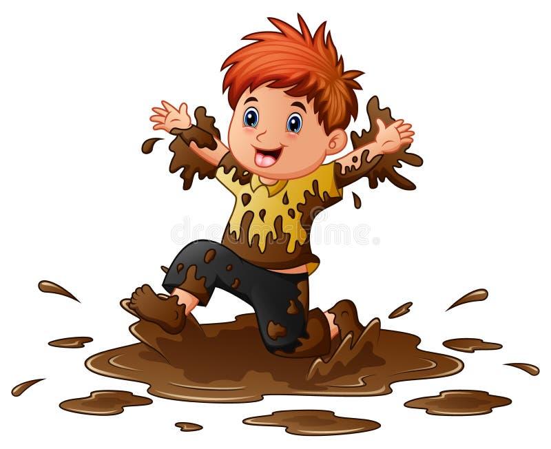 Het Spelen van Little Boy in de Modder vector illustratie