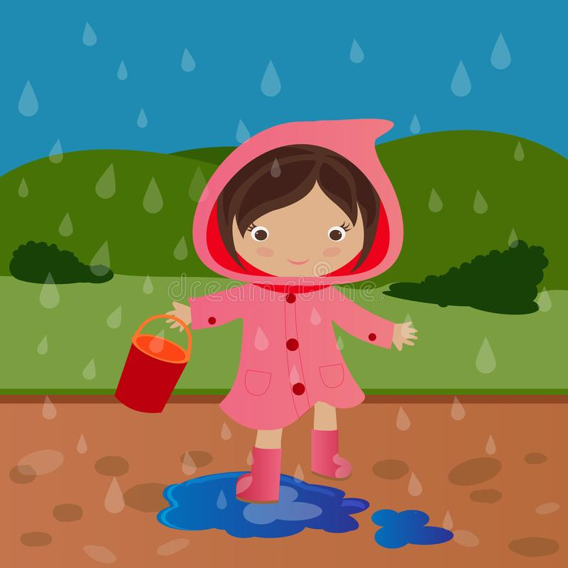 Het spelen van het meisje in vulklei stock illustratie