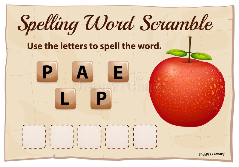 Het spellingswoord gooit spel met woordappel door elkaar royalty-vrije illustratie