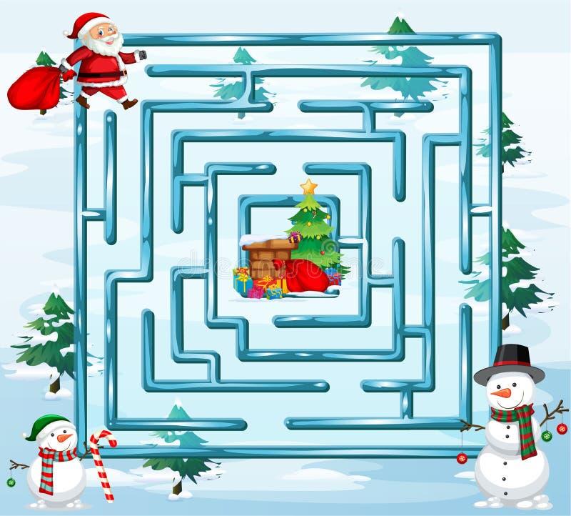 Het spelmalplaatje van het Kerstmislabyrint vector illustratie