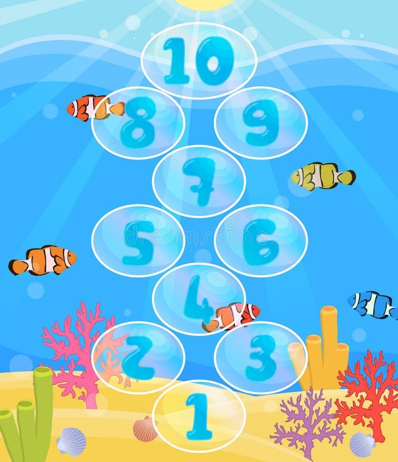 Het spelmat van de kinderenactiviteit voor hinkelspelsspel royalty-vrije illustratie