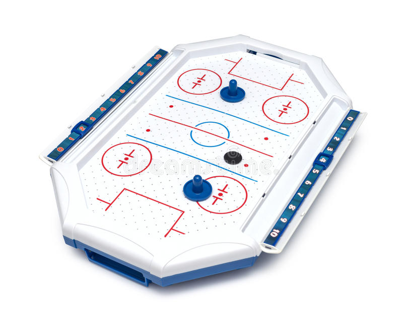 Het spelraad en stukken van het luchthockey stock afbeeldingen