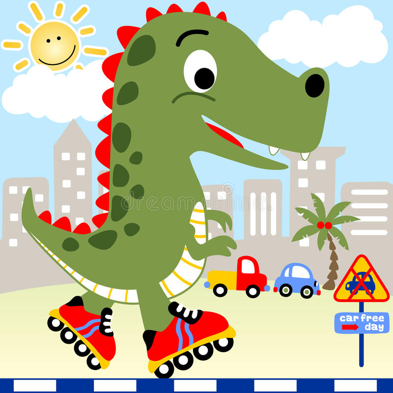 Het spelrolschaats van Dino stock illustratie