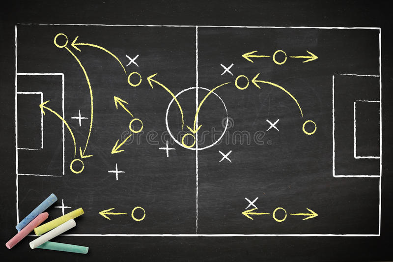 Het spelstrategie van het voetbal op bord. royalty-vrije illustratie