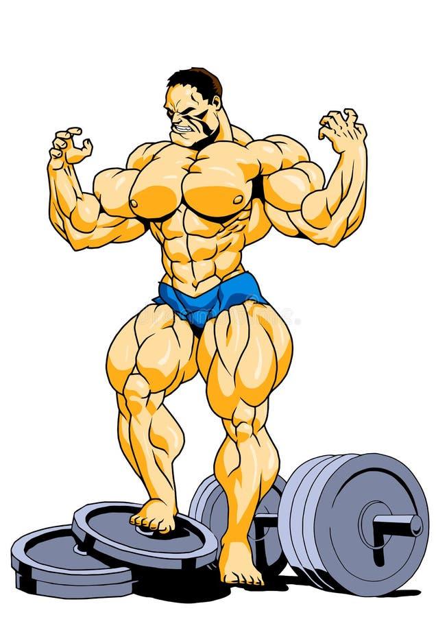 Het spier super bodybuilder stellen stock illustratie
