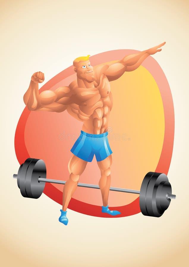 Het spier witte kerel stellen in de gymnastiek stock illustratie