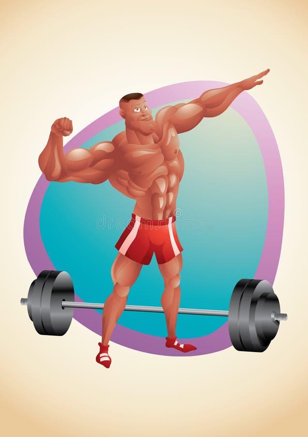 Het spier zwarte kerel stellen in de gymnastiek stock illustratie