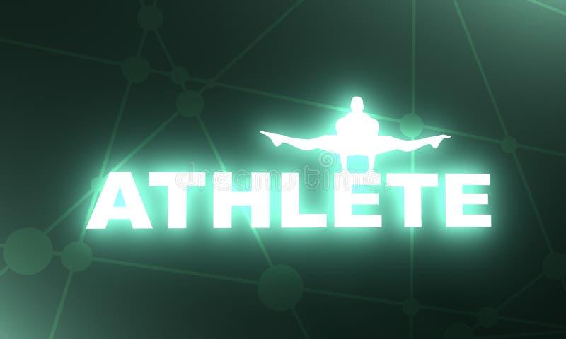 Het spiermens stellen op atletenwoord royalty-vrije illustratie