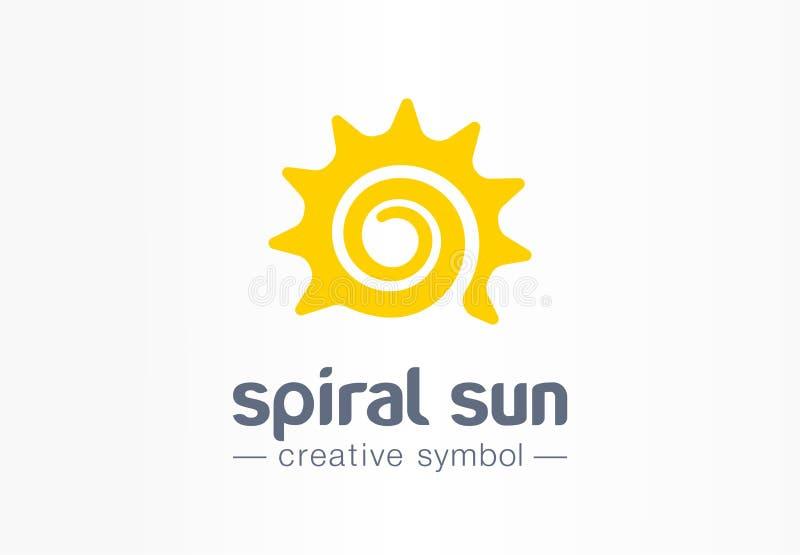 Het spiraalvormige concept van het zon creatieve symbool De energie licht abstract van de de bedrijfs zomerochtend embleem Heet z stock illustratie