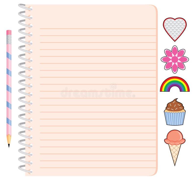 Het Spiraalvormige Notitieboekje van het meisje met Potlood en Stickers vector illustratie