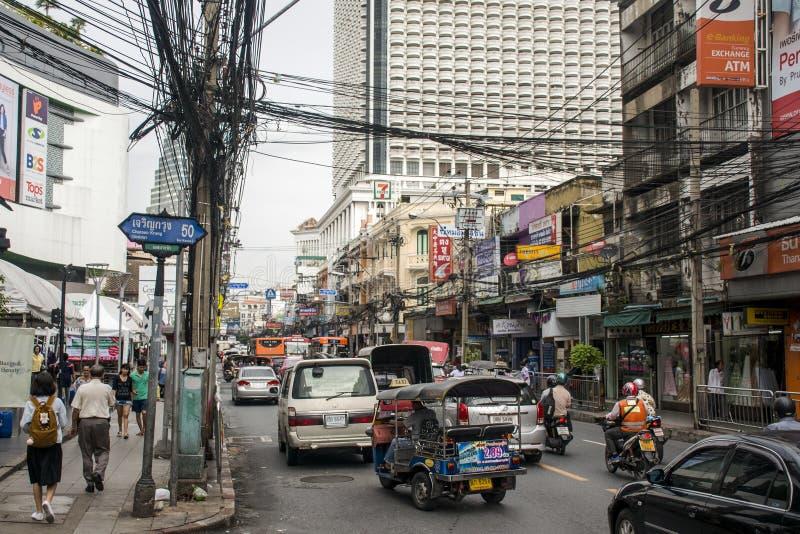 Het Spitsuur Dagelijkse Zaken van stratenbangkok Thailand stock foto's