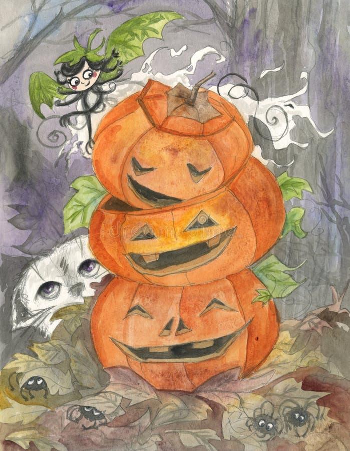 Het Spook En De Hefboom-o-lantaarns Van Halloween Royalty-vrije Stock Afbeelding