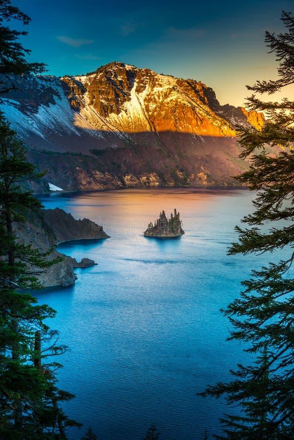 Het spook Meer Oregon van de Krater van het Eiland van het Schip stock foto's