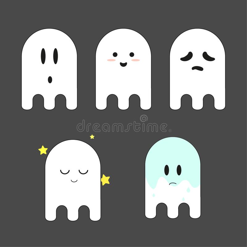 Het spook vlakke emoji Halloween van illustratiepictogrammen stock foto's