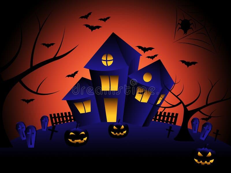 Het spookhuis wijst op Truc of behandelt en de Herfst royalty-vrije illustratie