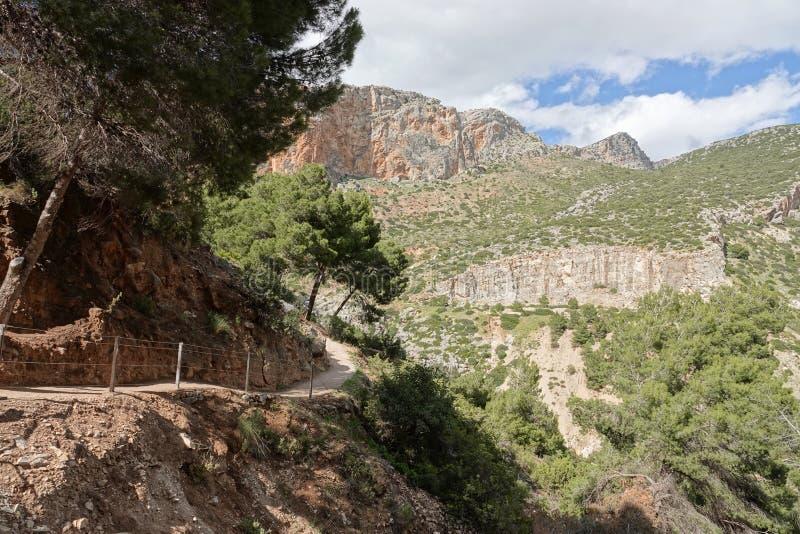Het spoor van de Hoyovallei in Caminito del Rey in Andalusia, Spanje stock afbeeldingen