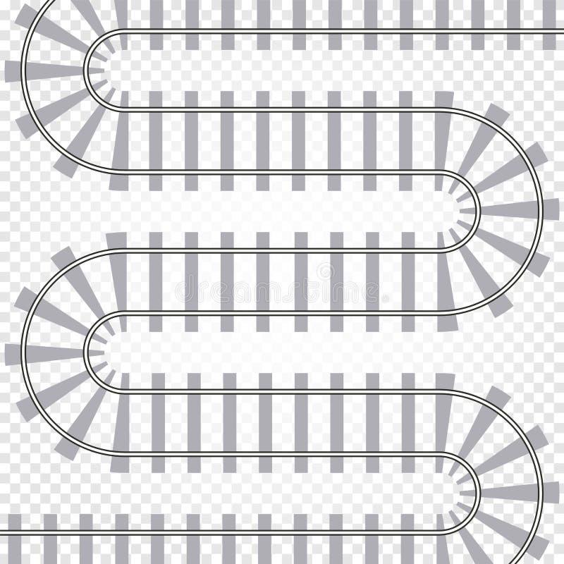 Het spoor vectorillustratie van de spoorspoorweg De trein van de spoorweg Windende wegweg royalty-vrije illustratie
