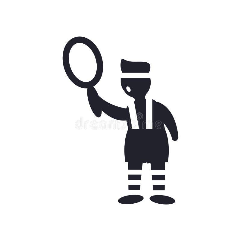 Het sportieve mens spelen met een vectordieteken en een symbool van het balpictogram op witte achtergrond, het Sportieve mens spe stock illustratie