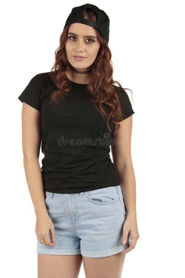 Het sportieve retro model van de stijlgeschiktheid in duidelijke zwarte t-shirt om uw het brandmerken toe te voegen royalty-vrije stock foto's