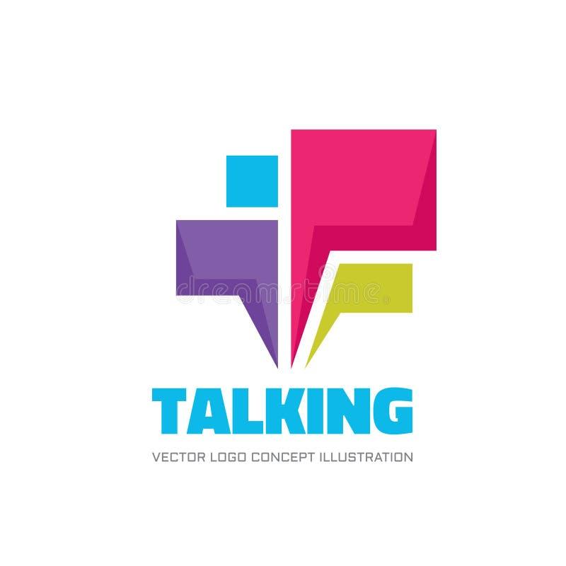 Het spreken - illustratie van het het embleemconcept van toespraakbellen de vector in vlakke stijl Dialoogpictogram praatjeteken  stock illustratie