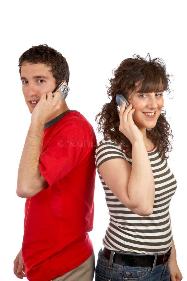 Het spreken met telefoon royalty-vrije stock afbeelding