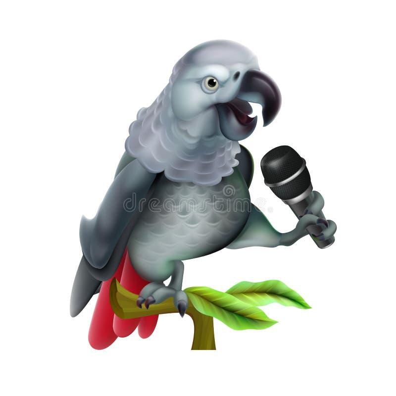 Het spreken van papegaai met microfoon Realistische vector Vectornetwerktechniek vector illustratie