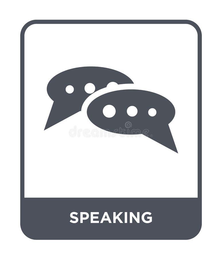 het spreken van pictogram in in ontwerpstijl sprekend pictogram op witte achtergrond wordt geïsoleerd die het spreken vectorpicto royalty-vrije illustratie