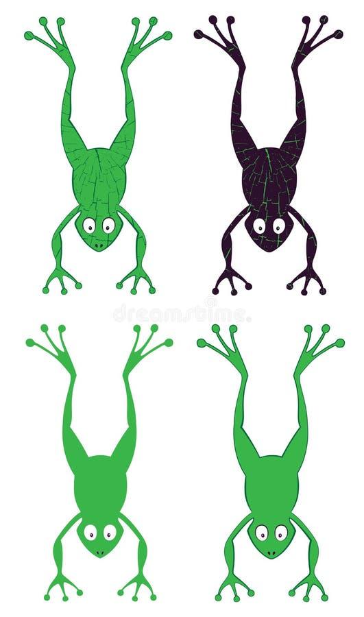Het springen beeldverhaal groene kikker stock illustratie