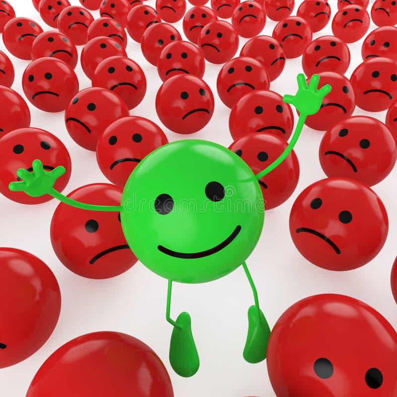 Het springen groene smiley vector illustratie