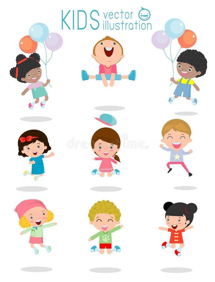 Het springen jonge geitjes, Multi-etnische kinderen die, Jonge geitjes die met vreugde, gelukkige het springen jonge geitjes, het royalty-vrije illustratie