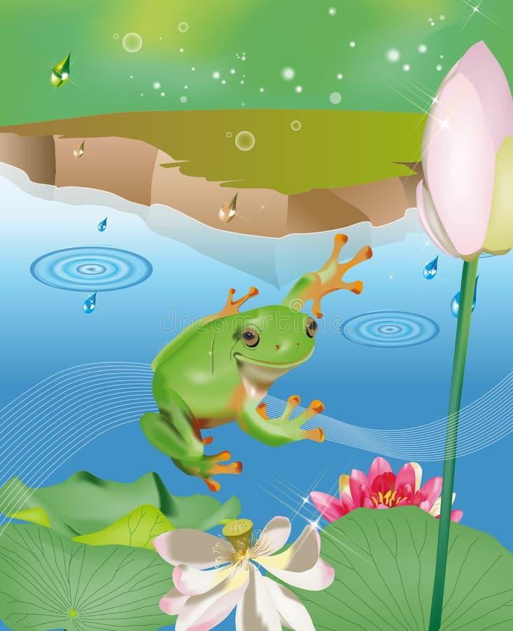 Het springen kikker in vijver vector illustratie