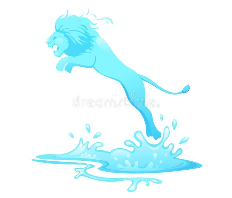 Het springen leeuw uit water royalty-vrije illustratie