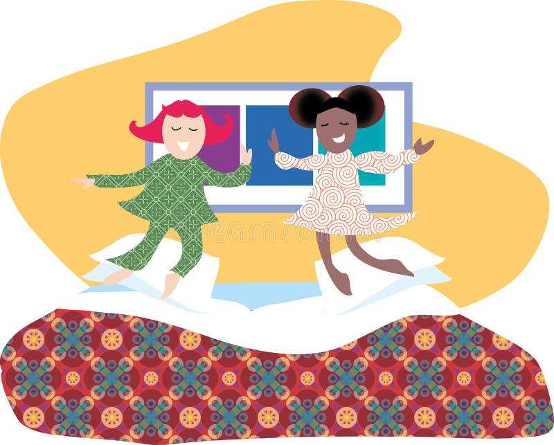 Het springen op het bed stock illustratie