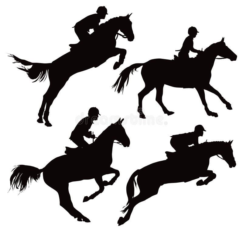 Het springen paarden met jockey stock illustratie