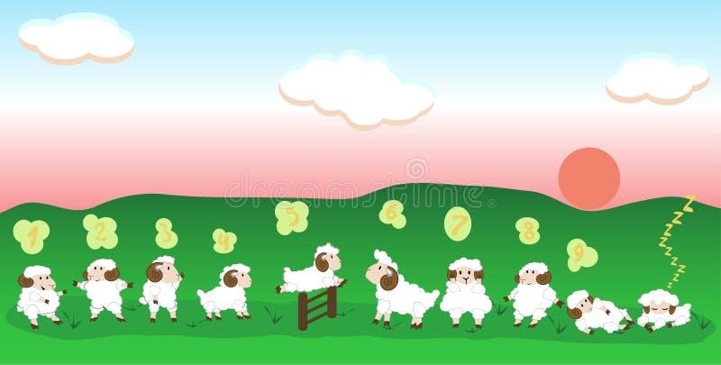 Het springen schapen royalty-vrije illustratie
