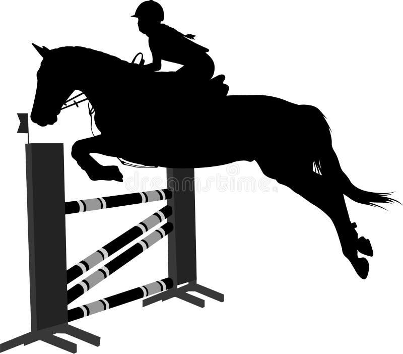 Het springen toont ruitersportpaard met jockey die een hindernissensilhouet springen stock illustratie