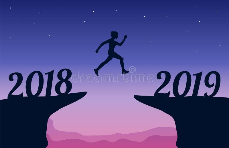 Het springen tussen het Nieuwjaar van 2018 en van 2019 Nieuwjaar 2019 concept Vector illustratie vector illustratie