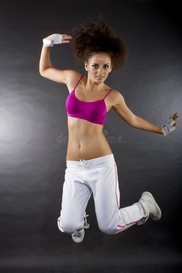 Het springen van de danser stock foto