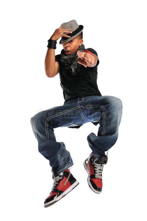 Het Springen van de Danser van Hip Hop stock afbeelding