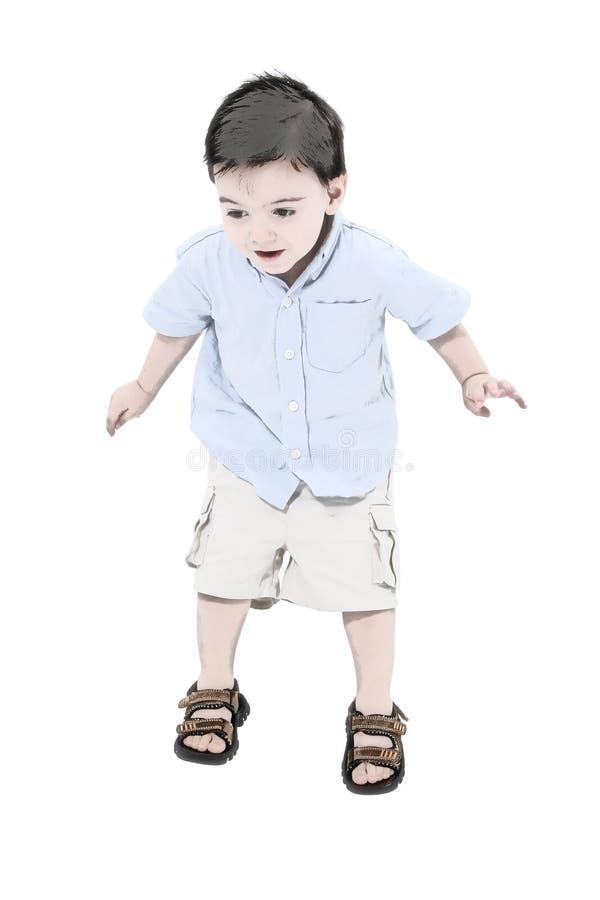 Het springen van de jongen van de peuter van de illustratie royalty vrije stock fotografie - Turquoise ruimte van de jongen ...