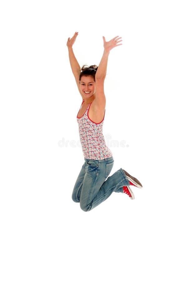 Het springen van de vrouw stock foto