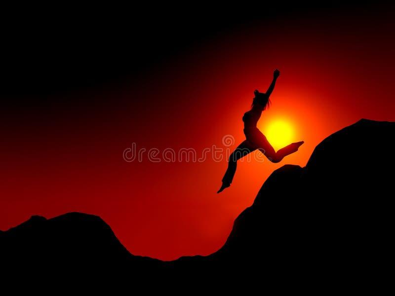 Het springen van de vrouw stock illustratie