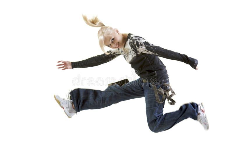 Het Springen van de vrouw stock fotografie