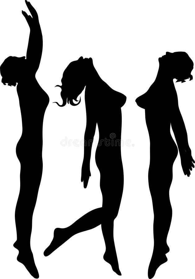Het springen van de vrouw silhouet vector illustratie