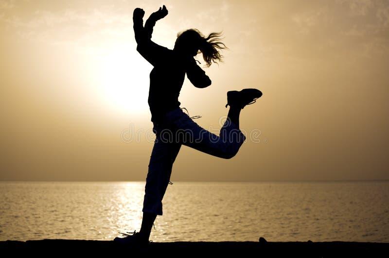 Het springen van de zonsopgang. 5:54 am. royalty-vrije stock fotografie